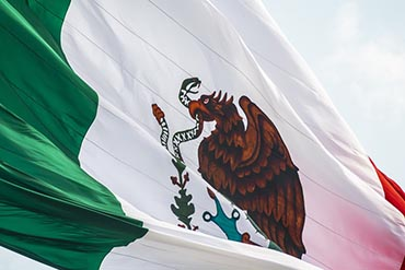 close-up shot of the Mexican flag in the breeze