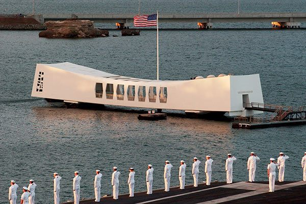 The USS Arizona Memorial at Pearl Harbor,  Hawaii