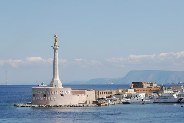 Madonnina del Porto Statue and Coast Guard Station in Port of Messina