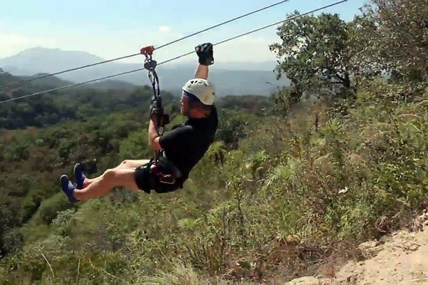 Zip lining in Mexico