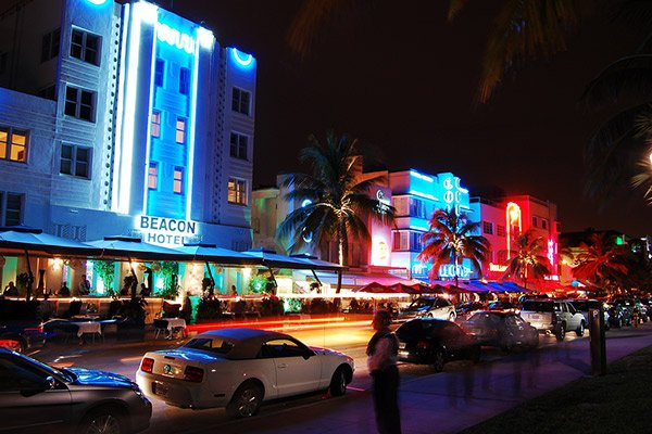 Ocean Drive in South Beach at Night