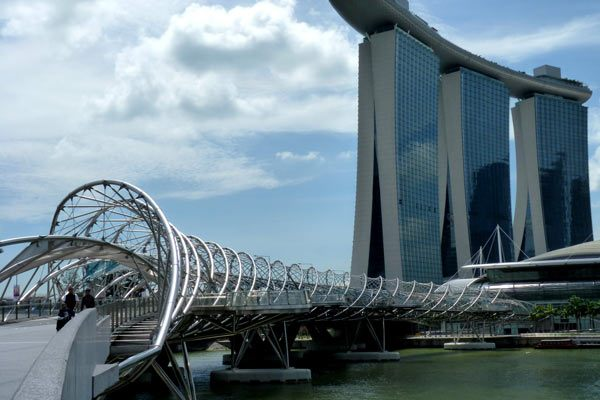 The Helix Bridge and Marina Bay Sands Hotel