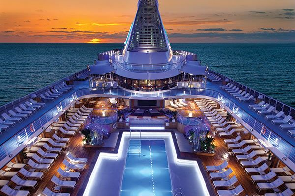Oceania Cruise Ship - Pool Deck at Night in Port